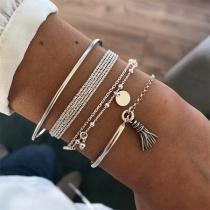 Simple Style Tassel Pendant Bracelet Set 4 pcs/Set