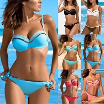 Sexy Low-waist Contrast Color Bikini Set
