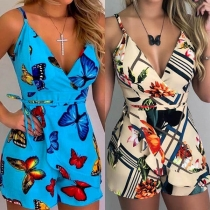 Sexy Backless V-neck High Waist Printed Sling Romper(The size falls small)