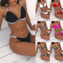 Sexy Lo-waist Contrast Color Bikini Set