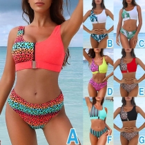 Sexy Contrast Color Printed Spliced Bikini Set