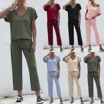 Fashion Short Sleeve V-neck T-shirt + Pants Two-piece Set