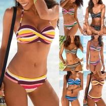 Sexy Low-waist Colorful Striped Bikini Set