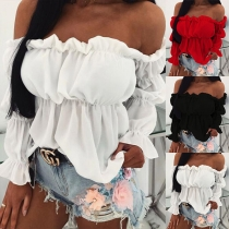 Sexy Off-shoulder Boat Neck Long Sleeve Solid Color Blouse
