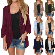Fashion Solid Color Long Sleeve Lace Spliced Chiffon Cardigan