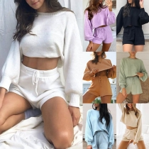 Fashion Solid Color Lantern Sleeve Crop Top + Shorts Knit Two-piece Set