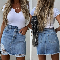 Fashion High Waist Ripped Irregular Denim Skirt