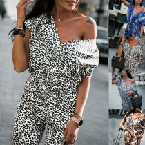 Sexy Backless V-neck High Waist Printed Jumpsuit