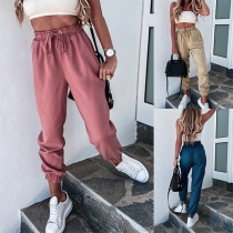 Fashion Solid Color High Waist Casual Pants