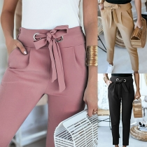 Fashion Solid Color High Waist Slim Fit Pants with Waist Strap