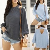 Sexy Off-shoulder Lantern Sleeve Round Neck Solid Color Sweater