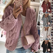 Fashion Solid Color Long Sleeve Knit Cardigan