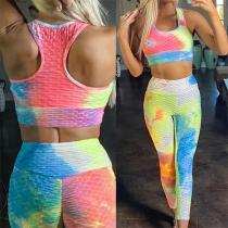 Fashion Tie-dye Printed Sleeveless Crop Top + Leggings Two-piece Set