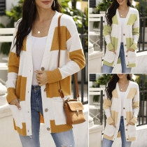 Fashion Contrast Color Long Sleeve V-neck Single-breasted Knit Cardigan