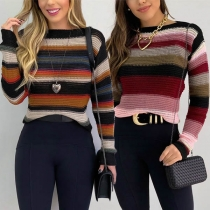 Fashion Long Sleeve Round Neck Contrast Color Striped Sweater