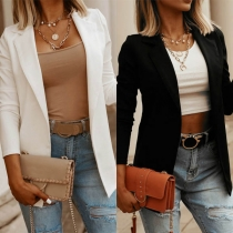 OL Style Long Sleeve Solid Color Thin Blazer