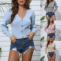 Fashion Solid Color Long Sleeve V-neck Front-button Knit Cardigan