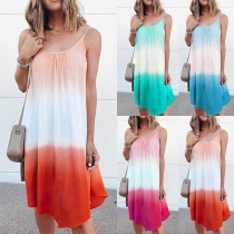 Sexy Backless Color Gradient Sling Dress