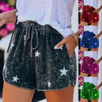 Fashion Elastic Waist Star Printed Shorts