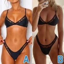 Sexy Low-waist Gauze Spliced Solid Color Bikini Set