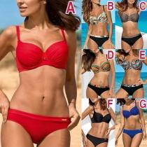Sexy Low-waist Push-up Printed Bikini Set