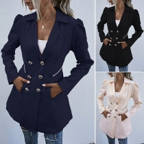 Fashion Solid Color Long Sleeve Notched Lapel Double-breasted Windbreaker Coat
