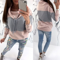Fashion Contrast Color Long Sleeve Cowl Neck Sweatshirt(The size runs small)
