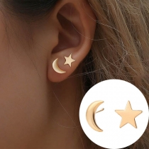Simple Style Star Crescent Shaped Asymmetric Stud Earrings