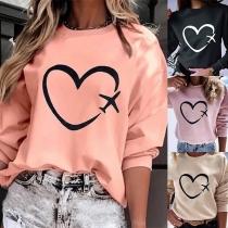 Fashion Heart Printed Long Sleeve Round Neck Sweatshirt(The size runs small)