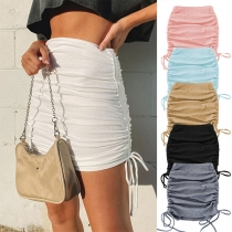 Fashion Solid Color High Waist Side-drawstring Slim Fit Skirt