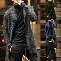 Fashion Mixed Color Long Sleeve Man's Knit Cardigan