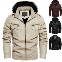 Fashion Solid Color Long Sleeve Hooded Man's PU Leather Jacket