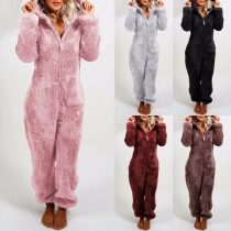 Fashion Solid Color Long Sleeve Hooded Plush Pajamas Jumpsuit