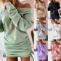 Fashion Solid Color Long Sleeve Boat Neck Side-drawstring Slim Fit Dress