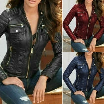 Retro Style Long Sleeve Stand Collar Slim Fit PU Leather Jacket