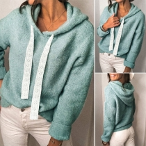 Fashion Solid Color Long Sleeve Hooded Top