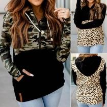 Fashion Camouflage/Leopard Printed Spliced Hooded Sweatshirt