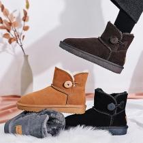 Fashion Flat Heel Round Toe Plush Lining Snow Boots