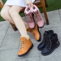 Retro Style Flat Heel Round Toe Plush Lining Lace-up Martin Boots