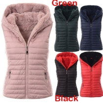 Fashion Solid Color Hooded Plush Lining Vest(The size runs big)