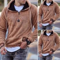 Fashion Solid Color Hooded Long Sleeve Plush Sweatshirt for Man