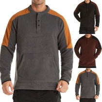 Fashion Contrast Color Long Sleeve Round Neck Man's Sweatshirt