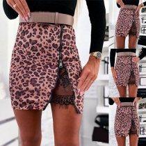 Sexy Leopard Printed Split Zipper High Waist PU Skirt
