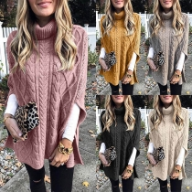 Fashion Solid Color High Collar Split Sleeve Sweater