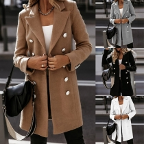 Fashion Solid Color Lapel Double Breasted Long Sleeve Woolen Coat