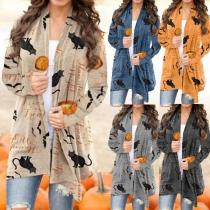 Fashion Long Sleeve Printed Cardigan