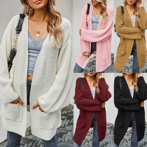 Fashion Solid Color Mid Length Long Sleeve Knitted Cardigan