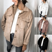 Solid Color Lapel Single Breasted Double Pockets Faux Suede Jacket