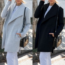 Fashion Solid Color Lapel Long Sleeve Coat with Waist Strap