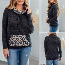 Fashion Leopard Printed Spliced Long Sleeve Hooded Sweatshirt